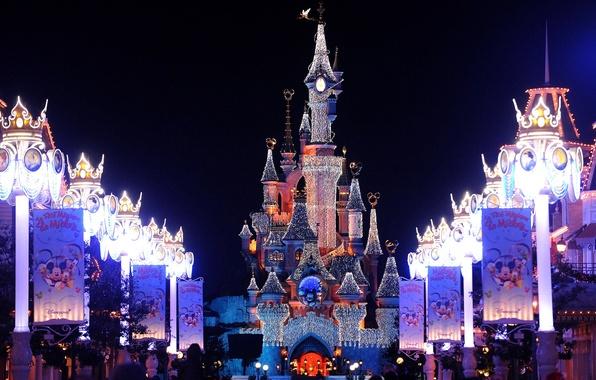Картинка украшения, огни, замок, Франция, Париж, Paris, Диснейленд, Christmas, France, castle, Disneyland, christmas lights