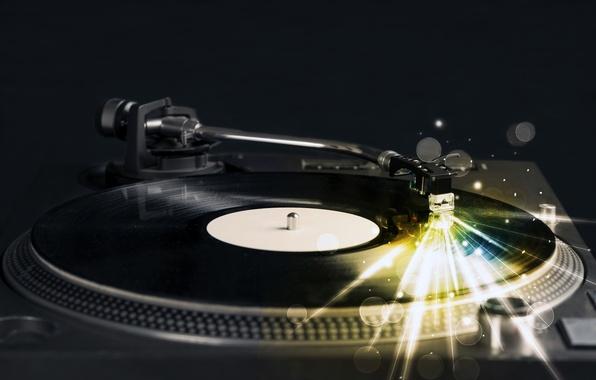 Картинка свет, линии, ретро, креатив, свечение, клуб, music, звук, проигрыватель, винил, пластинка, инструмент, вечеринка, ночной, record, …