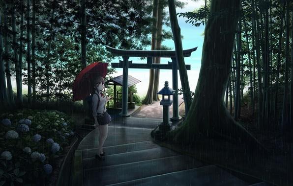 Картинка девушка, деревья, цветы, природа, дождь, зонт, аниме, арт, фотоаппарат, лестница, школьница, ume32ki