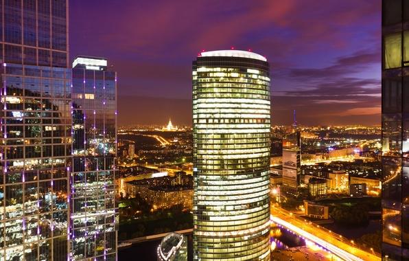 Картинка ночь, город, Москва, Москва-сити