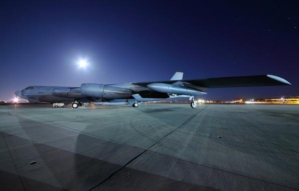 Картинка ночь, самолёт, аэродром