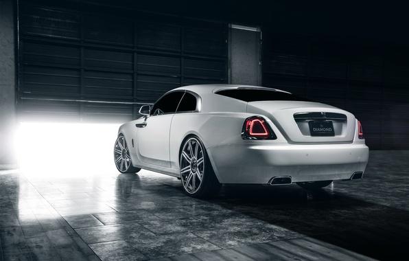 Картинка car, зад, гараж, Rolls Royce, Wraith