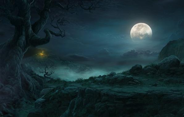 Картинка облака, пейзаж, ночь, дерево, скалы, луна, хижина, diablo 3