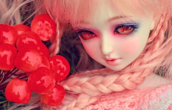 Картинка глаза, ягоды, игрушка, кукла, косички