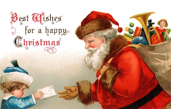 Картинка письмо, игрушки, мальчик, Санта Клаус, мешок, Дед Мороз, открытка