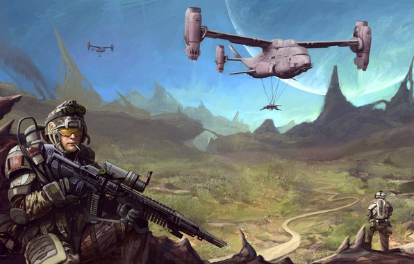 Картинка automatic, soldier, mountains, helicopter, warrior, helmet, equipment, Sci FI, big gun