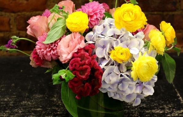 Картинка фото, Цветы, Букет, Розы, Лютик, Гортензия