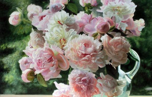 Картинка лето, свет, цветы, нежность, картина, натюрморт, пионы, графин, Zbigniew Kopania