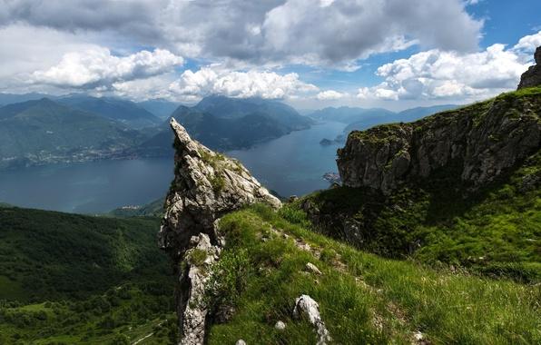 Картинка облака, горы, озеро, Альпы, панорама, Italy, Alps, озеро Комо, Ломбардия, Lombardy, Lake Como, Италтя, Monte …