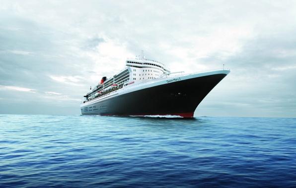 Картинка океан, горизонт, лайнер, Queen Mary 2