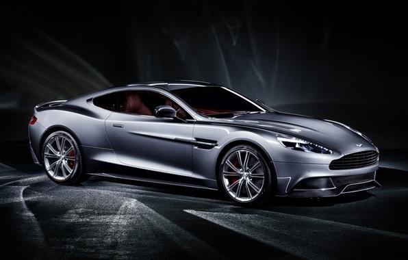 Картинка серый, фон, Aston Martin, суперкар, полумрак, передок, Астон Мартин, Ванкуиш, Vanquish