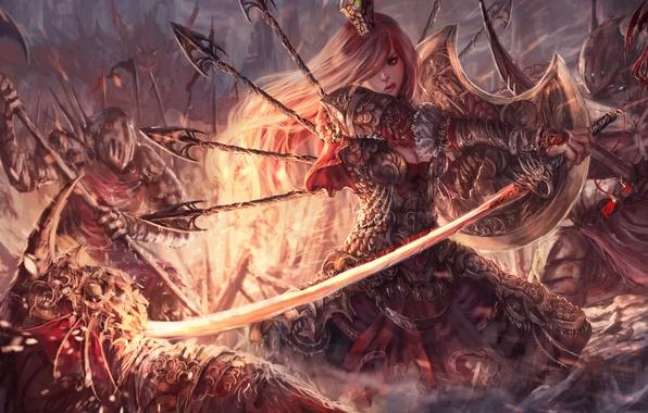 Картинка девушка, оружие, фантастика, арт, броня, щит, враги