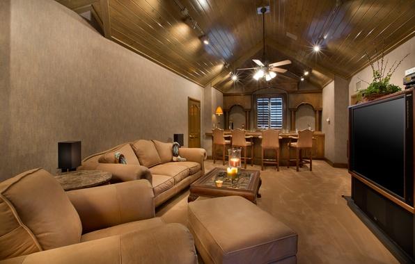 Картинка комната, диван, стулья, интерьер, кресло, техника, бар, телевизор, столик, барная стойка, столики, interior., мебнль