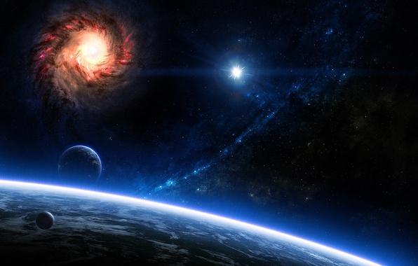 Картинка Звезды, Планеты, Planets, Stars, Space, Galaxies, Blue