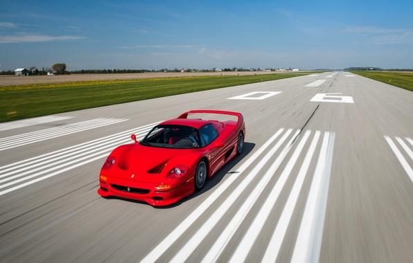 Картинка car, авто, скорость, Ferrari, red, феррари, speed, F50, мчится
