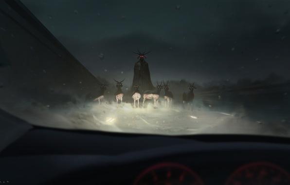 Картинка авто, свет, ночь, демон, рога, салон, козы