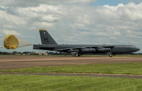 Картинка парашют, Boeing, бомбардировщик, стратегический, тяжёлый, Stratofortress, B-52H