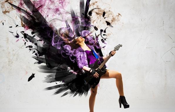 Картинка девушка, музыка, дым, гитара, крылья, рок