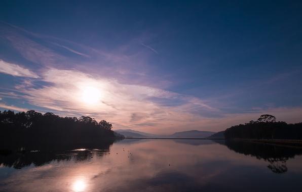 Картинка лес, озеро, рассвет, холмы, утро