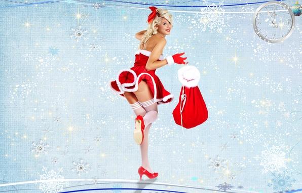 Картинка фон, подарки, перчатки, Снегурочка, мешок, новогодний