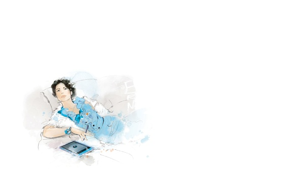 Картинка взгляд, девушка, задумчивость, подушки, платье, браслет, планшет, мечтательность