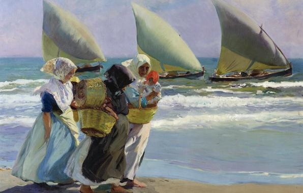 Картинка женщины, берег, лодка, картина, парус, морской пейзаж, жанровая, Хоакин Соролья, Три Паруса