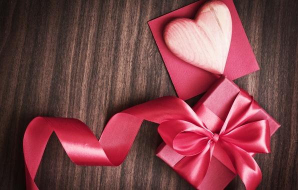 Картинка фон, праздник, коробка, подарок, розовая, сердце, лента, сердечко, День святого Валентина, ленточка, Valentine's Day