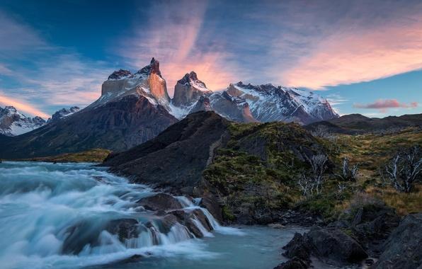Картинка облака, горы, природа, река, восход, Чили, Chile, Национальный парк, Патагония, Torres del Paine, Торрес дель …