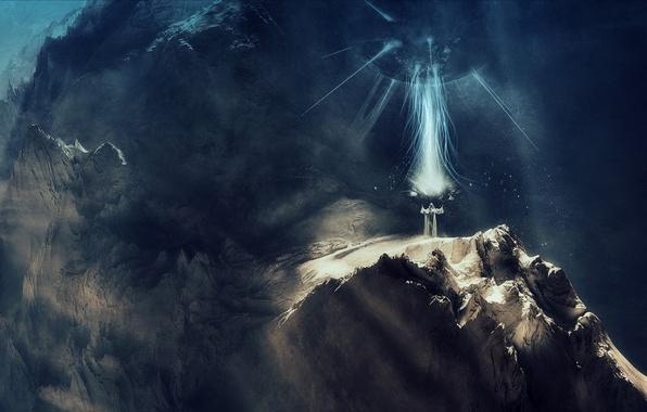 Картинка горы, скалы, магия, дым, арт, мужчина, сфера, колдун
