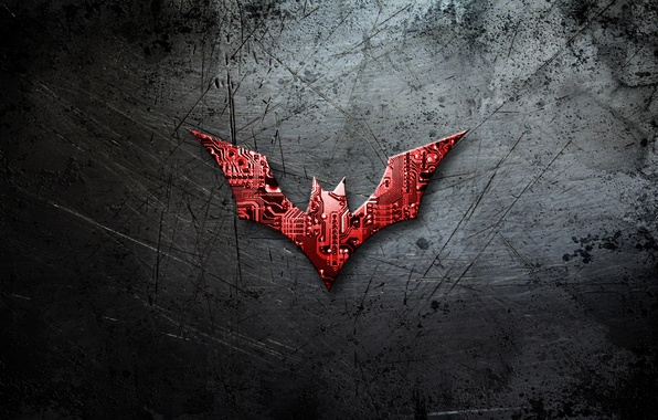 Картинка металл, batman, царапины, logo, микросхемы, comics, Batman beyond, бэтмен будущего