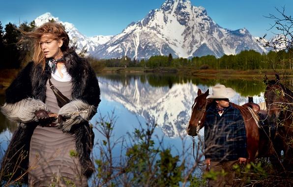 Картинка лес, пейзаж, горы, природа, озеро, шляпа, актриса, лошади, фотограф, перчатки, шуба, ковбой, Дикий Запад, журнал, …