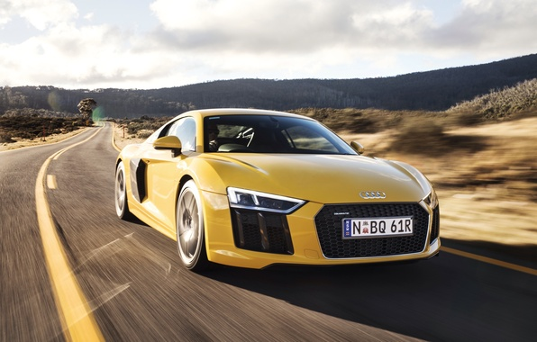Картинка car, машина, Audi, ауди, road, yellow, speed, V10