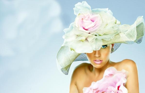 Картинка цветок, взгляд, девушка, лицо, шляпа