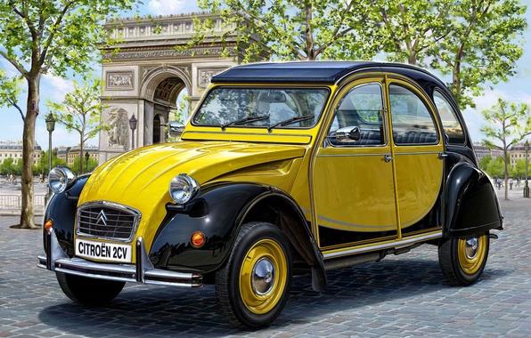 Картинка один, две, скорость, арт, Ситроен, Citroen, макс, автомобиль, автомобилей, механическая, Франции, модель., лошадки, самых, 1948г., …