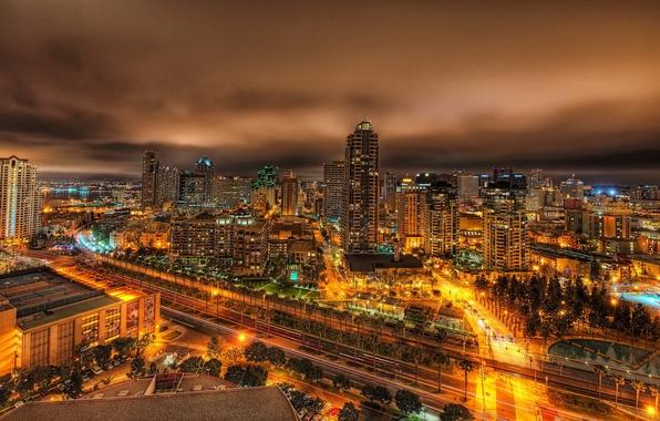 Картинка ночь, огни, пальмы, дороги, дома, Калифорния, панорама, City, USA, США, мегаполис, California, San Diego, высотки, …
