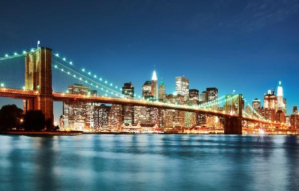 Картинка ночь, мост, город, огни, нью-йорк, new york, бруклинский мост, brooklyn bridge