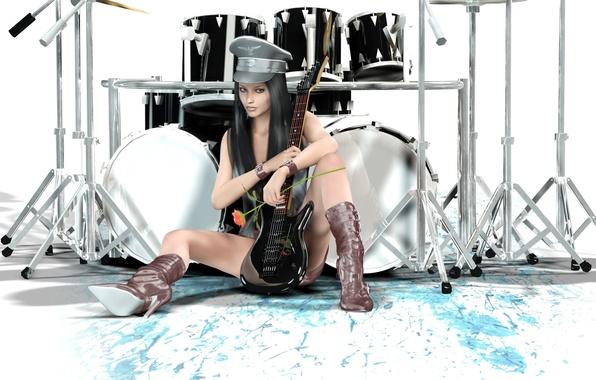 Картинка девушка, стиль, гитара, барабаны, разное