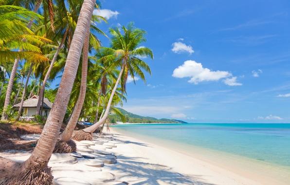 Картинка песок, море, небо, облака, пейзаж, природа, тропический пляж, Таиланд, красивая, Thailand, тропический, sky, sea, landscape, …