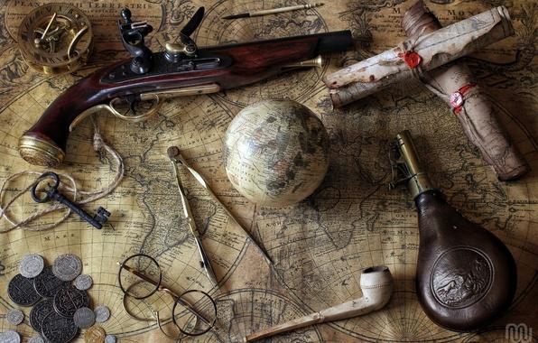 Картинка карты, бутылка, трубка, ключ, очки, монеты, компас, глобус, циркуль, пистоль