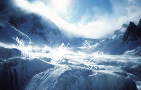 Картинка зима, снег, круги, пейзаж, горы, скалы, отдых, ландшафт, завитушки, стрелки, ввысь, вверх, склоны, завитки, лыжня, …