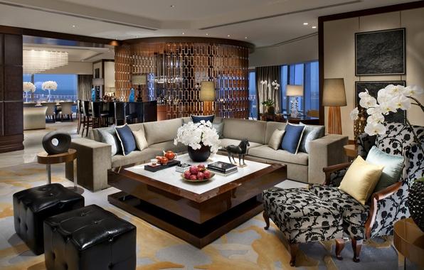 Картинка цветы, дизайн, стиль, стулья, интерьер, подушки, кресла, отель, диваны, люкс, барная стойка, столики