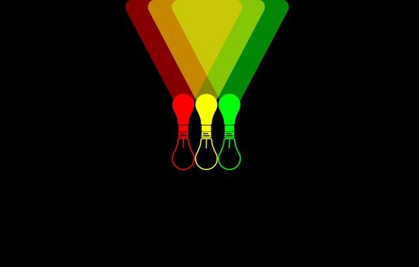 Картинка лампочка, цвета, свет, фон, обои, черный, минимализм, красная, зеленая, лампочки, желтая, светят