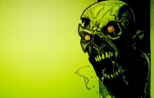 Картинка зеленый, green, Череп, зомби, horror, toxic, zombie