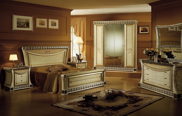 Картинка цветы, дизайн, стиль, комната, лампа, кровать, розы, интерьер, букет, зеркало, картины, шкаф, спальня