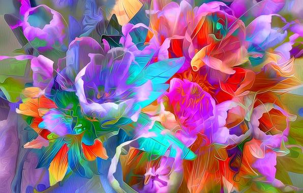 Картинка листья, линии, цветы, рендеринг, краски, лепестки