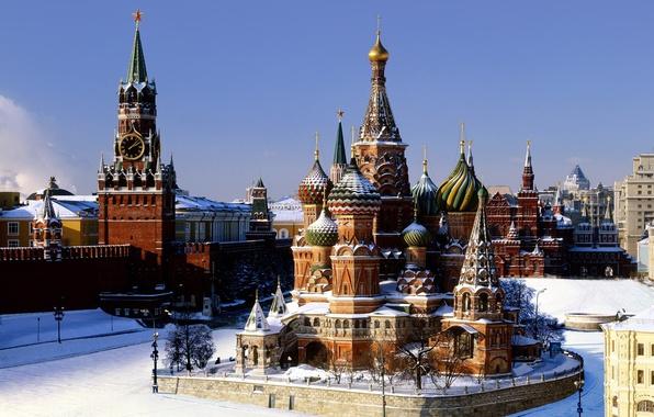 Картинка зима, снег, Москва, кремль, Храм Василия Блаженного, Покровский собор