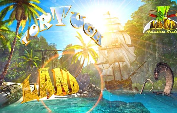 Картинка песок, море, небо, солнце, острова, скала, пальмы, рендеринг, лодка, корабль, парусник, монстр, бухта, Пираты, залив, …