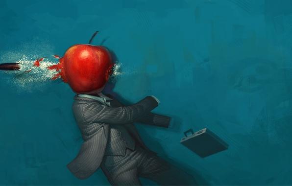 Картинка яблоко, Рисунок, пуля, странно