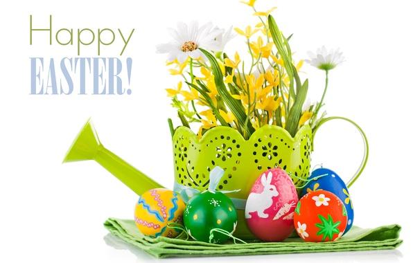Картинка цветы, яйца, пасха, лейка, крашенки