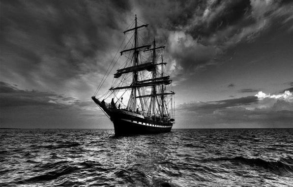 Картинка море, небо, корабль